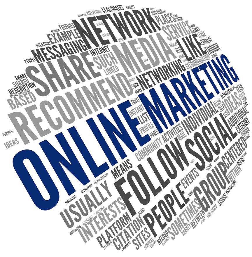 Online-Markting Wortwolke